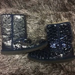 UGG women's navy and silver sequin short boots